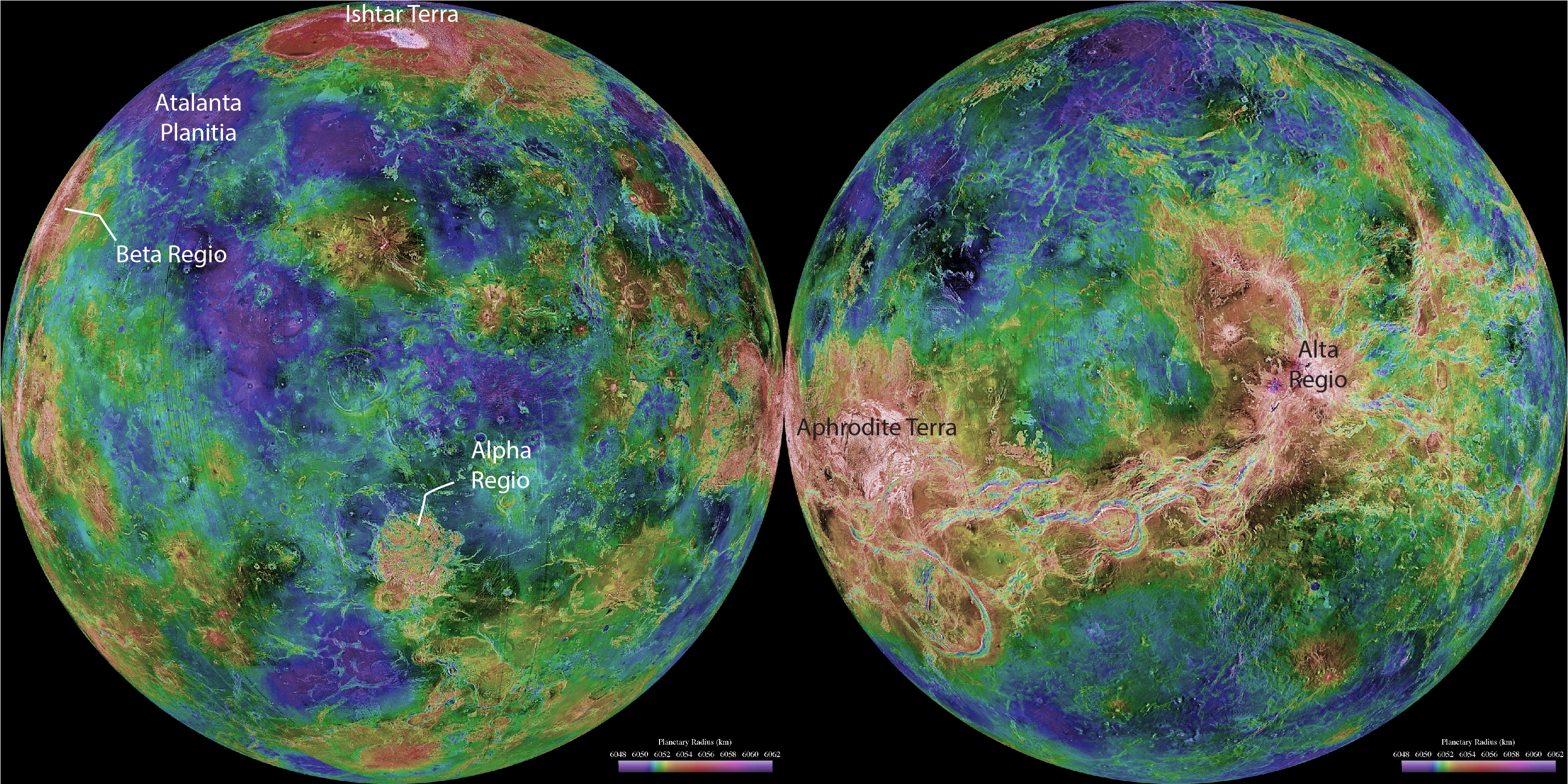 Shaded relief map of Venus