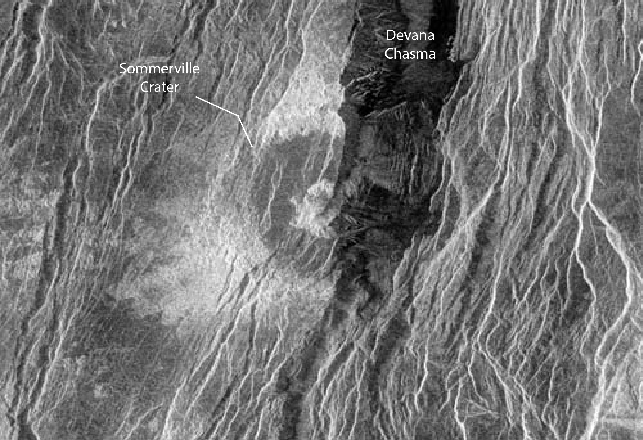 large rift cuts impact crater