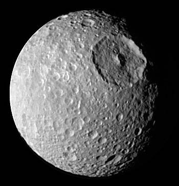 Impact crater on Mimas