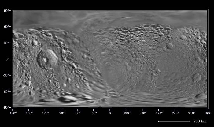 Shaded relief map of Mimas