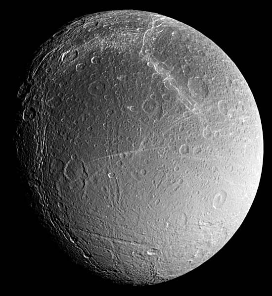 densely cratered terrain of Dione