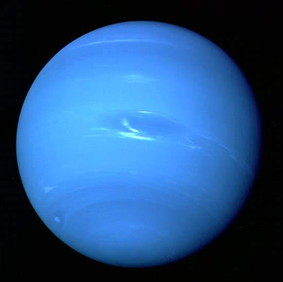Neptune's banded, cloudy atmosphere